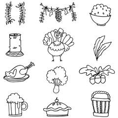 Vector art of thanksgiving doodle