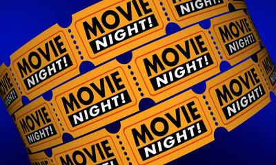 Movie Night Tickets Showtime Cinema Theater Film 3d Illustration