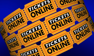 Tickets Online Buy Movie Theater Passes Internet 3d Illustration