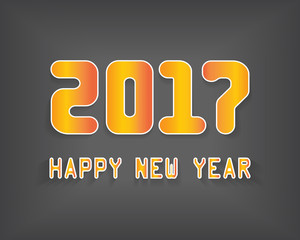 2017 New Year numbers and greeting text. 2017 new year color car