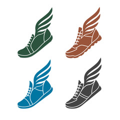 icons sports shoes with wings