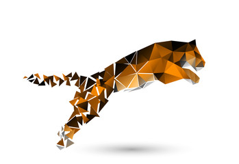 leaping tiger from polygons