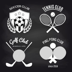 Set of sport banners on chalkboard. Football tennis ping pond and golf banners collection. Vector illustration