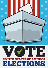Translucent Ballot Box in American Elections Day, Vector Illustration