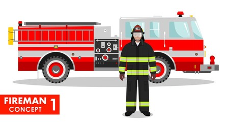 Fireman concept. Detailed illustration of firefighter and fire truck in flat style on white background. Vector illustration.
