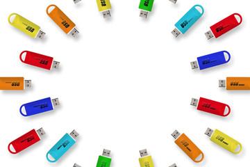 背景素材壁紙,カラフル素材,USBメモリ,フラッシュメモリ,虹色,スペクトル,レインボーカラー,広告