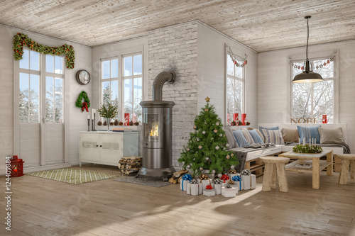 skandinavisches nordisches wohnzimmer mit einem sofa kamin und weihnachtlicher deko. Black Bedroom Furniture Sets. Home Design Ideas
