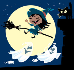 A set of cute little witch flying on a broomstick, black cat on a chimney, a couple of ghosts and the moon. Halloween cartoon vector illustration.