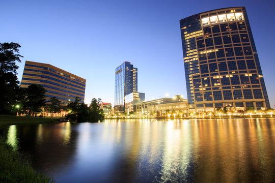 Night landscape building in Woodlands area, Houston, Texas