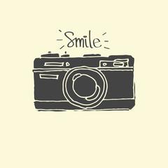 Photo Camera - hand-drawn doodles vector - vector illustration