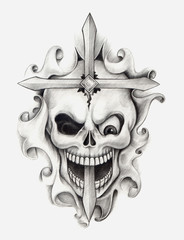 Skull art tattoo.Art design head skull mix cross and graphic for tattoo hand pencil drawing on paper.
