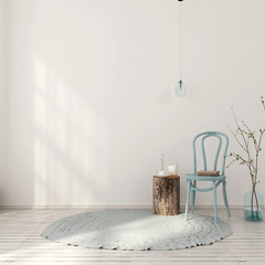 Blue interior with vintage chair