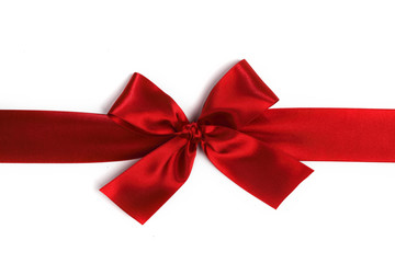 Decorative red satin bow