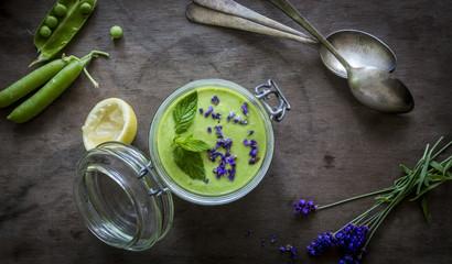 Jar with green gazpacho