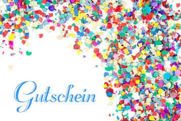 Gutschein-Hintergrund mit Konfetti