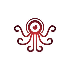 Red Octopus Squid with Long Tentacles Mascot Logo