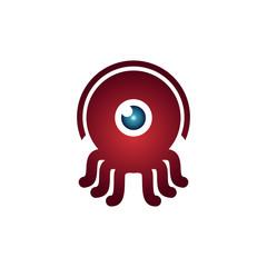 Red Octopus Squid One Eye Monocular Cute Monster Mascot