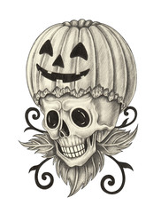 Skull pumpkin for Halloween day. Hand pencil drawing on paper.