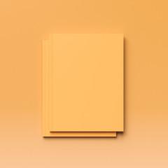 Blank magazine on orange background. 3D illustration
