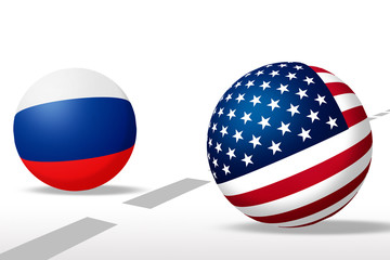 Sphere US and Russian flag with line