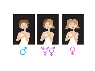 Set of gender symbols with  male, female and unisex or transgender - vector