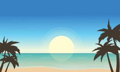 Beach landscape of vector art