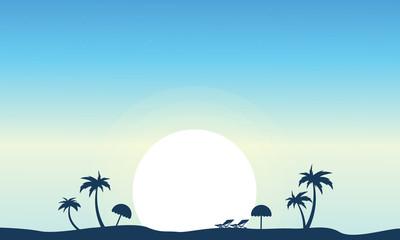 Vector art of beach landscape silhouette