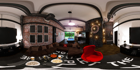3d render seamless panorama of interior design in loft style