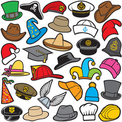 different types of hat pattern (sailor cap, military beret, firefighter helmet, sombrero, cowboy, santa claus, wizard, chef)