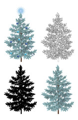 Set of Christmas Trees, with Holiday Decorations, Blue Star and Balls, Green Naturalistic and Black Outlines Contours and Silhouettes Isolated On White. Eps10, Contains Transparencies. Vector