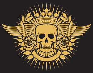 skull symbol tattoo design (crown, laurel wreath, wings, roses and banner)