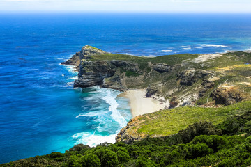 Foto op Plexiglas Zuid Afrika The Cape of Good Hope, South Africa, looking towards the west, from the coastal cliffs above Cape Point, overlooking Dias beach.