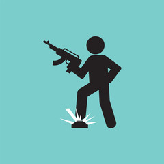 Black Symbol Of A Soldier Step On Landmines Vector Illustration