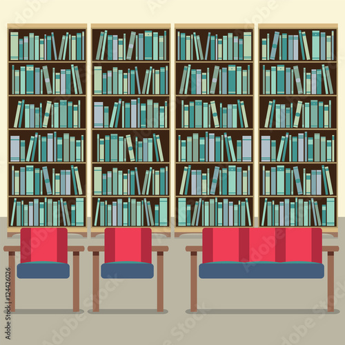 Reading seats in front of a bookcase stock image and for Read your bookcase buy