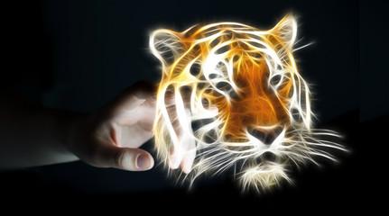 Person touching fractal endangered tinger illustration 3D render