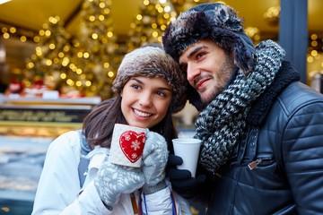 Romantic couple at wintertime