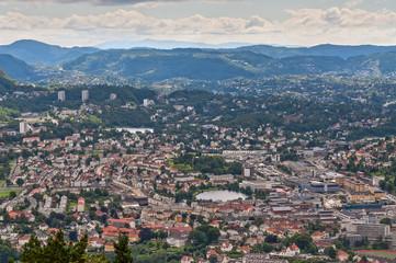 Bergen City Skyline from Floyen mountain, Norway