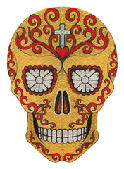 Skull art day of the dead. Hand drawing and color painting on paper.