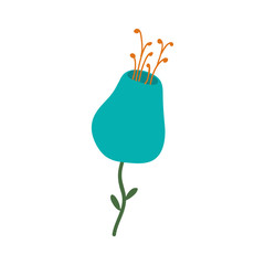 beautiful natural blue flower icon. vector illustration