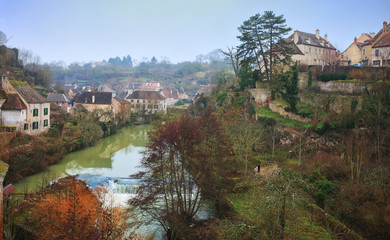 Evening in Semur-en-Auxois,  Burgundy, France