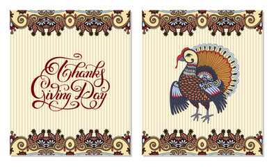 Thanks Giving Day decorative greeting card with turkey and handw