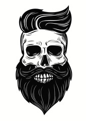 skull illustration on white