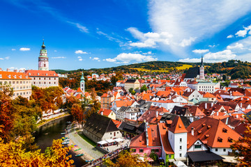 Autumn view on the Cesky Krumlov and Vltava river, Czech republic. Sunny autumn day. UNESCO World Heritage Site