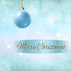 Merry Christmas decoration background with 3d blue ball. Stars, glitter and white winter snowflakes. Bright xmas card. Happy New Year celebration abstract pattern. Holiday design Vector illustration