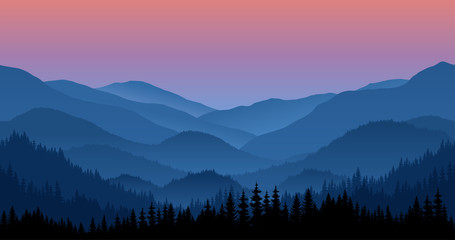 Vector mountains morning landscape - seamless background.