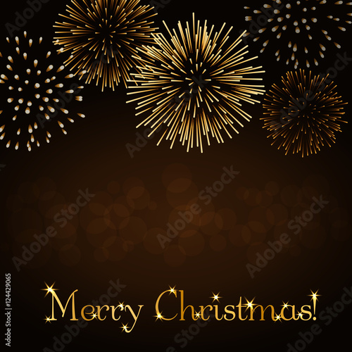 gold abstract firework for card greeting xmas celebrate banner