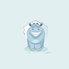 Vector Illustration Emoji character cartoon ballerina Hippopotamus with huge smile