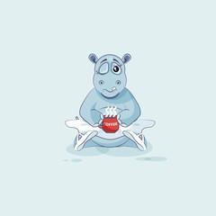 Vector Illustration Emoji character cartoon ballerina Hippopotamus just woke up with cup of coffee