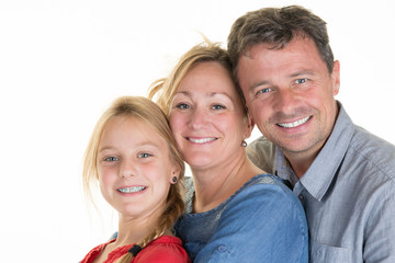 Attractive happy family of mother, father, daughter having fun