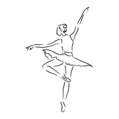 Abstract dancer line art illustration; beautiful movement performance dancing